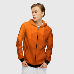 Толстовка 3D на молнии мужская Orange abstraction цвета 3D-черный — фото 2