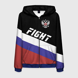 Толстовка 3D на молнии мужская Fight Russia цвета 3D-синий — фото 1