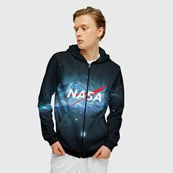Толстовка 3D на молнии мужская NASA: Space Light цвета 3D-черный — фото 2