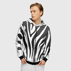 Толстовка 3D на молнии мужская Африканская зебра цвета 3D-черный — фото 2