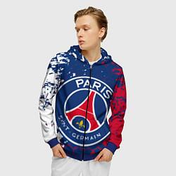 Толстовка 3D на молнии мужская ФК ПСЖ FC PSG PARIS SG цвета 3D-синий — фото 2