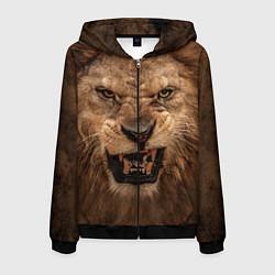 Толстовка 3D на молнии мужская Взгляд льва цвета 3D-черный — фото 1