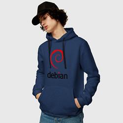 Толстовка-худи хлопковая мужская Debian цвета тёмно-синий — фото 2