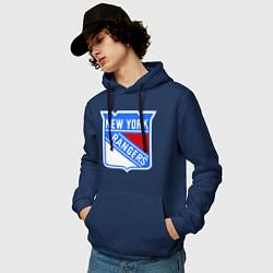 Толстовка-худи хлопковая мужская New York Rangers цвета тёмно-синий — фото 2