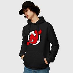 Толстовка-худи хлопковая мужская New Jersey Devils цвета черный — фото 2