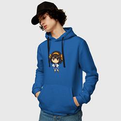 Толстовка-худи хлопковая мужская Харухи Судзумия цвета синий — фото 2