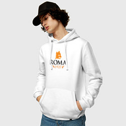 Толстовка-худи хлопковая мужская AS Roma 1927 цвета белый — фото 2