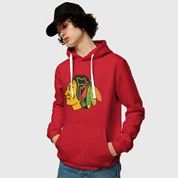 Толстовка-худи хлопковая мужская Chicago Blackhawks: Kane цвета красный — фото 2