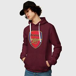 Толстовка-худи хлопковая мужская Arsenal FC цвета меланж-бордовый — фото 2