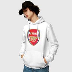 Толстовка-худи хлопковая мужская Arsenal FC цвета белый — фото 2