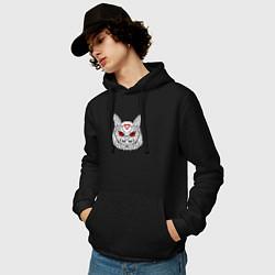 Толстовка-худи хлопковая мужская Owl: Twin Peaks цвета черный — фото 2