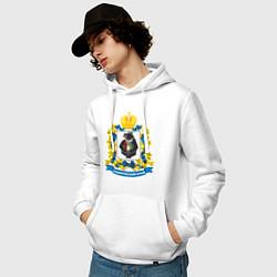 Толстовка-худи хлопковая мужская Хабаровский край цвета белый — фото 2