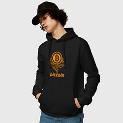 Толстовка-худи хлопковая мужская Bitcoin Tree цвета черный — фото 2