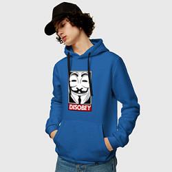 Толстовка-худи хлопковая мужская DISOBEY цвета синий — фото 2