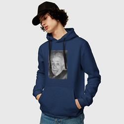 Толстовка-худи хлопковая мужская Энштейн дурачится цвета тёмно-синий — фото 2