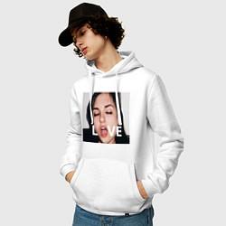 Толстовка-худи хлопковая мужская Sasha Grey LOVE цвета белый — фото 2