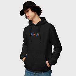 Толстовка-худи хлопковая мужская Google цвета черный — фото 2