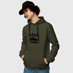 Толстовка-худи хлопковая мужская Papa Roach цвета хаки — фото 2