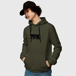 Толстовка-худи хлопковая мужская TFK: Black Logo цвета хаки — фото 2