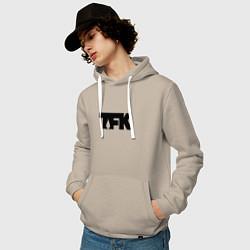 Толстовка-худи хлопковая мужская TFK: Black Logo цвета миндальный — фото 2