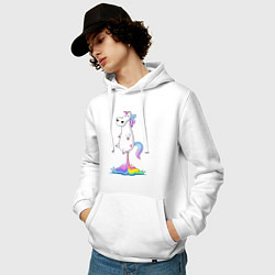 Толстовка-худи хлопковая мужская Взлет единорога цвета белый — фото 2