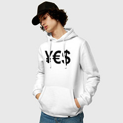 Толстовка-худи хлопковая мужская YE$ цвета белый — фото 2