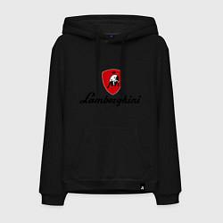 Толстовка-худи хлопковая мужская Logo lamborghini цвета черный — фото 1