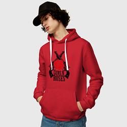 Толстовка-худи хлопковая мужская Guns n Roses: guns цвета красный — фото 2
