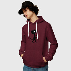 Толстовка-худи хлопковая мужская Luci цвета меланж-бордовый — фото 2