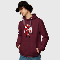 Толстовка-худи хлопковая мужская Umbrella Girl цвета меланж-бордовый — фото 2
