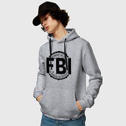 Толстовка-худи хлопковая мужская FBI Agency цвета меланж — фото 2