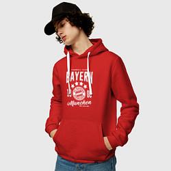 Толстовка-худи хлопковая мужская Bayern Munchen 1900 цвета красный — фото 2