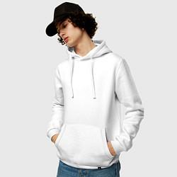 Толстовка-худи хлопковая мужская MAI цвета белый — фото 2