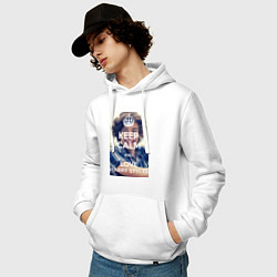 Толстовка-худи хлопковая мужская Keep Calm & Love Harry Styles цвета белый — фото 2