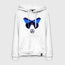 Толстовка-худи хлопковая мужская Linkin Park: Butterfly цвета белый — фото 1