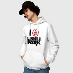 Толстовка-худи хлопковая мужская I love Linkin Park цвета белый — фото 2