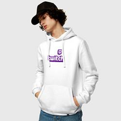 Толстовка-худи хлопковая мужская Twitch цвета белый — фото 2