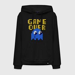 Толстовка-худи хлопковая мужская Pac-Man: Game over цвета черный — фото 1