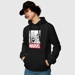 Толстовка-худи хлопковая мужская Thor & Captain America цвета черный — фото 2
