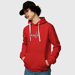 Толстовка-худи хлопковая мужская Washington Capitals: Alexander Ovechkin цвета красный — фото 2