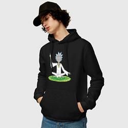 Толстовка-худи хлопковая мужская Rick Sanchez цвета черный — фото 2