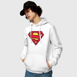 Толстовка-худи хлопковая мужская Superman logo цвета белый — фото 2