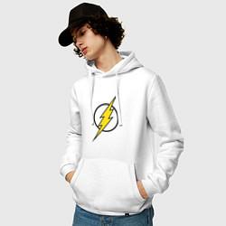Толстовка-худи хлопковая мужская Flash цвета белый — фото 2