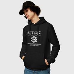 Толстовка-худи хлопковая мужская Science цвета черный — фото 2