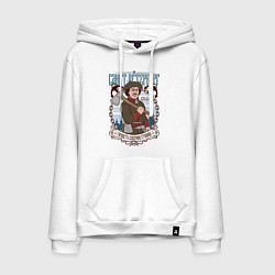 Толстовка-худи хлопковая мужская Санкт-Петербург цвета белый — фото 1