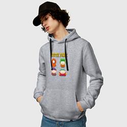 Толстовка-худи хлопковая мужская ЮЖНЫЙ ПАРК цвета меланж — фото 2