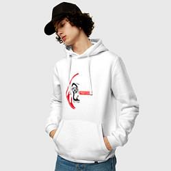 Толстовка-худи хлопковая мужская La Casa de Papel Z цвета белый — фото 2