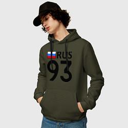 Толстовка-худи хлопковая мужская RUS 93 цвета хаки — фото 2