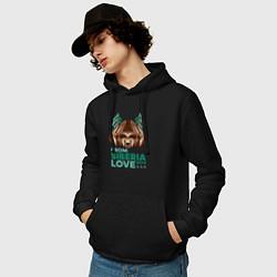 Толстовка-худи хлопковая мужская Из Сибири с любовью цвета черный — фото 2