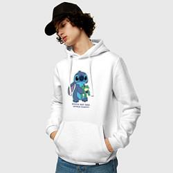 Толстовка-худи хлопковая мужская Стич цвета белый — фото 2